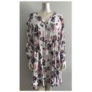 Torrid Pink & Purple Floral Button Down Dress